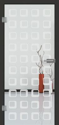 Ganzglastür mit Sandstrahlmotiv Sand 35 | Zarge CPL Anthrazitgrau, Designkante 60 mm | Schlosskasten Modern mit Türgriff Baltrum Edelstahl