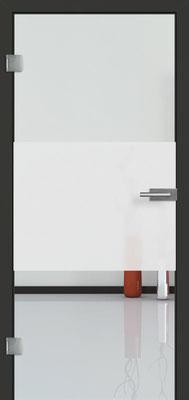 Ganzglastür mit Sandstrahlmotiv Sand 33 | Zarge CPL Anthrazitgrau, Designkante 60 mm | Schlosskasten Modern mit Türgriff Baltrum Edelstahl