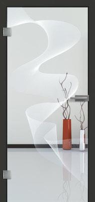 Ganzglastür mit Lasermotive Pikto 10 | Zarge CPL Anthrazitgrau, Designkante 60 mm | Schlosskasten Modern mit Türgriff Paros Edelstahl