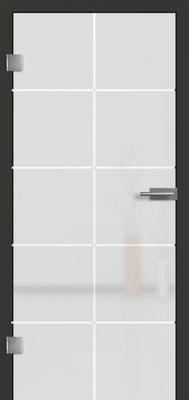 Ganzglastür mit 3D-Motiv Vista 73 | Zarge CPL Anthrazitgrau, Designkante 60 mm | Schlosskasten Modern mit Türgriff Paros Edelstahl