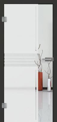 Ganzglastür mit Sandstrahlmotiv Sand 11 | Zarge CPL Anthrazitgrau, Designkante 60 mm | Schlosskasten Modern mit Türgriff Baltrum Edelstahl