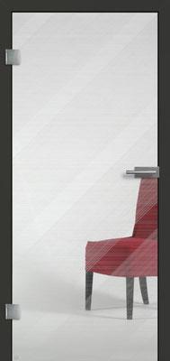 Ganzglastür mit Finelinemotiv Visio 15 | Zarge CPL Anthrazitgrau, Designkante 60 mm | Schlosskasten Modern mit Türgriff Paros Edelstahl