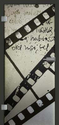 Ganzglastür mit Printmotiv Life 9 | Zarge CPL Anthrazitgrau, Designkante 60 mm | Schlosskasten Modern mit Türgriff Paros Edelstahl
