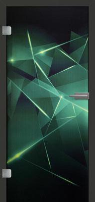 Ganzglastür mit Printmotiv Life 6 | Zarge CPL Anthrazitgrau, Designkante 60 mm | Schlosskasten Modern mit Türgriff Paros Edelstahl