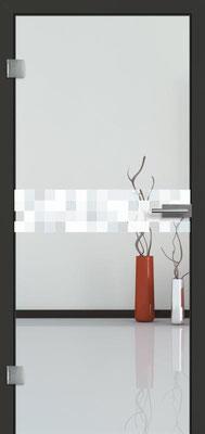Ganzglastür mit Lasermotive Pikto 2 | Zarge CPL Anthrazitgrau, Designkante 60 mm | Schlosskasten Modern mit Türgriff Paros Edelstahl
