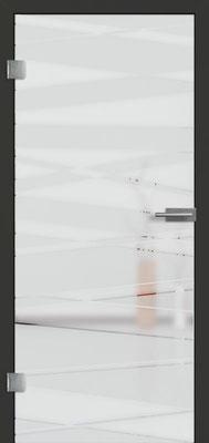 Ganzglastür mit 3D-Motiv Vista 75 | Zarge CPL Anthrazitgrau, Designkante 60 mm | Schlosskasten Modern mit Türgriff Paros Edelstahl