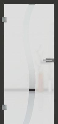Ganzglastür mit Sandstrahlmotiv Sand 50 | Zarge CPL Anthrazitgrau, Designkante 60 mm | Schlosskasten Modern mit Türgriff Baltrum Edelstahl