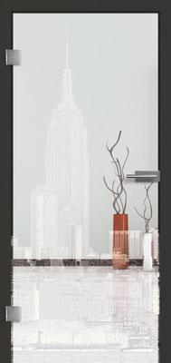 Ganzglastür mit Lasermotive Pikto 20 | Zarge CPL Anthrazitgrau, Designkante 60 mm | Schlosskasten Modern mit Türgriff Paros Edelstahl