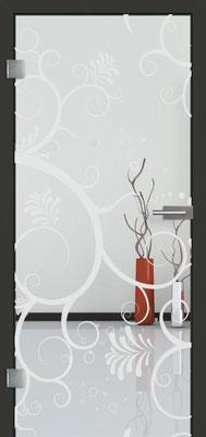 Ganzglastür mit Sandstrahlmotiv Sand 38 | Zarge CPL Anthrazitgrau, Designkante 60 mm | Schlosskasten Modern mit Türgriff Baltrum Edelstahl
