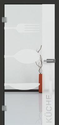 Ganzglastür mit Sandstrahlmotiv Sand 52 | Zarge CPL Anthrazitgrau, Designkante 60 mm | Schlosskasten Modern mit Türgriff Baltrum Edelstahl