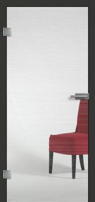 Ganzglastür mit Finelinemotiv Visio 2 | Zarge CPL Anthrazitgrau, Designkante 60 mm | Schlosskasten Modern mit Türgriff Paros Edelstahl