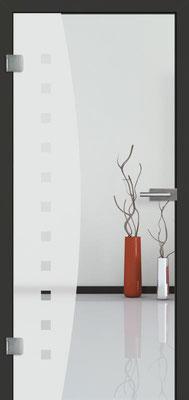 Ganzglastür mit Sandstrahlmotiv Sand 9 | Zarge CPL Anthrazitgrau, Designkante 60 mm | Schlosskasten Modern mit Türgriff Baltrum Edelstahl