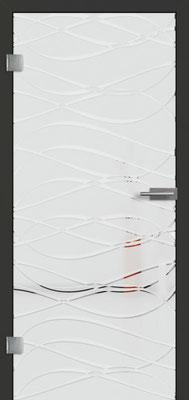 Ganzglastür mit 3D-Motiv Vista 72 | Zarge CPL Anthrazitgrau, Designkante 60 mm | Schlosskasten Modern mit Türgriff Paros Edelstahl