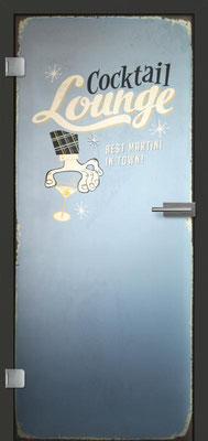 Ganzglastür mit Printmotiv Life 2 | Zarge CPL Anthrazitgrau, Designkante 60 mm | Schlosskasten Modern mit Türgriff Paros Edelstahl