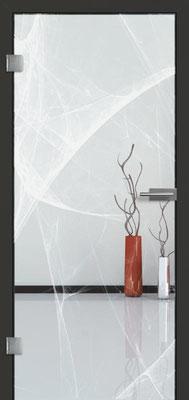 Ganzglastür mit Lasermotive Pikto 14 | Zarge CPL Anthrazitgrau, Designkante 60 mm | Schlosskasten Modern mit Türgriff Paros Edelstahl
