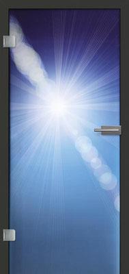 Ganzglastür mit Printmotiv Life 5 | Zarge CPL Anthrazitgrau, Designkante 60 mm | Schlosskasten Modern mit Türgriff Paros Edelstahl