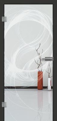 Ganzglastür mit Lasermotive Pikto 15 | Zarge CPL Anthrazitgrau, Designkante 60 mm | Schlosskasten Modern mit Türgriff Paros Edelstahl