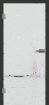 Ganzglastür mit 3D-Motiv Vista 79 | Zarge CPL Anthrazitgrau, Designkante 60 mm | Schlosskasten Modern mit Türgriff Paros Edelstahl