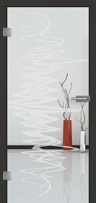 Ganzglastür mit Sandstrahlmotiv Sand 37 | Zarge CPL Anthrazitgrau, Designkante 60 mm | Schlosskasten Modern mit Türgriff Baltrum Edelstahl