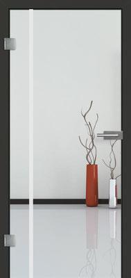 Ganzglastür mit Sandstrahlmotiv Sand 25 | Zarge CPL Anthrazitgrau, Designkante 60 mm | Schlosskasten Modern mit Türgriff Baltrum Edelstahl