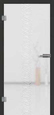 Ganzglastür mit 3D-Motiv Vista 74 | Zarge CPL Anthrazitgrau, Designkante 60 mm | Schlosskasten Modern mit Türgriff Paros Edelstahl