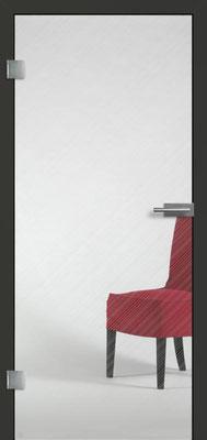 Ganzglastür mit Finelinemotiv Visio 3 | Zarge CPL Anthrazitgrau, Designkante 60 mm | Schlosskasten Modern mit Türgriff Paros Edelstahl
