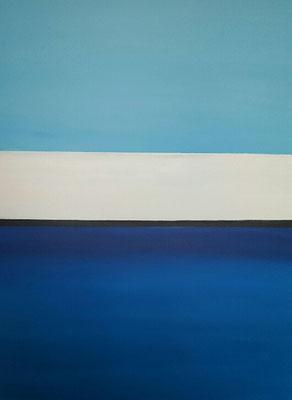 Pandémie stade 1: horizon barré et page blanche, acrylique sur toile, 92X73