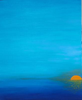 Pandémie stade 3: une légère éclaircie, soleil levant mais ciel sombre! acrylique sur toile, 92x73