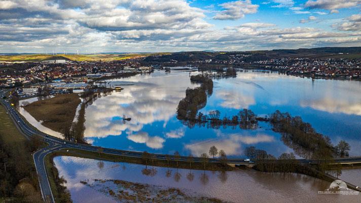 Hochwasser auf den Saalewiesen