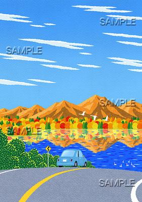 風景イラスト/紅葉の湖へ