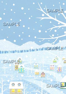 風景イラスト/雪の散歩道