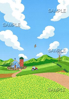 風景イラスト/昼下がりの農場