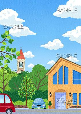 風景イラスト/教会の塔が見える閑静な住宅街