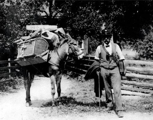 Posttransport nach Schönhalden mit dem Esel durch Johann August Kunz (1876-1943)