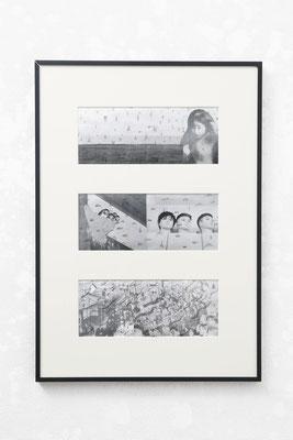 宮子姫の物語/2018/W22×D3×H73/プリントしたイメージにドローイング /photo by Takeru Koroda