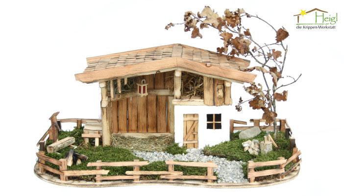 """Alle unsere Online-Shop Modelle erhalten Sie auf Wunsch auch mit wunderschöner Landschaft. Hier unser Modell """"Bernloher Hof""""."""