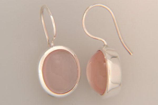 ohrringe-ohrhaenger-rosenquarz-11x9 mm-sehr gute farbe-silber-sterling-925