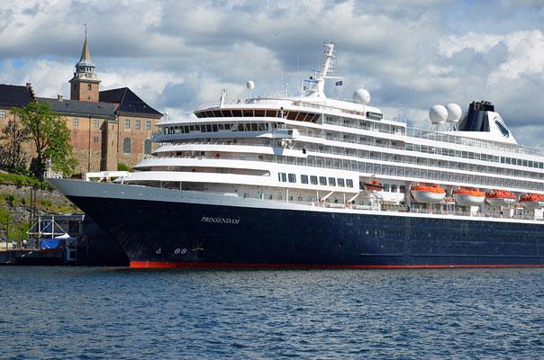 Die Prinsendam - das kleinste Kreuzfahrtschiff der Holland-America Line - hat in Oslo festgemacht.