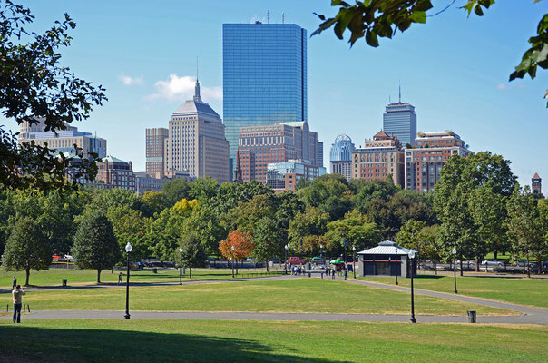 Blick vom Boston Common nach Downtown
