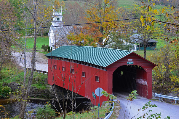 Die Arlington Covered Bridge in Vermont über den Batten Kill River