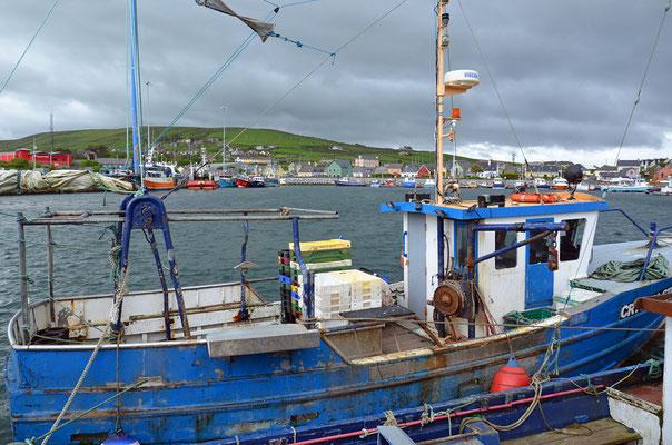Fischerboote liegen im Hafen von Dingle.