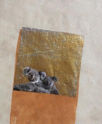 TIERE Collage auf Asiapapier / Pergament beschichtet; ca. 13 cmx 15 cm; 2015/16