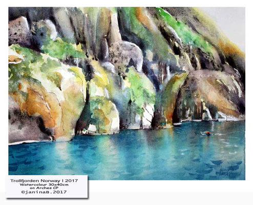 Trollfjorden Norway I 2017 / Watercolour 30x40cm on Arches CP © janinaB. 2017