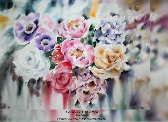 Flowers VII 2018 / 56x76cm (M1) / Watercolour by ©janinaB.