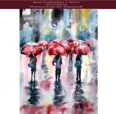 Red Umbrellas I 2019 (4) / 24x432cm Watercolour by ©janinaB