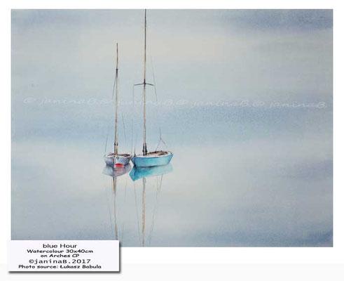 blue Hour / Watercolour 30x40cm on Arches CP © janinaB. 2017 Photo source: Łukasz Babula