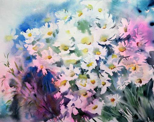 Blumen 30x40cm (21) / Watercolour by ©janinaB.