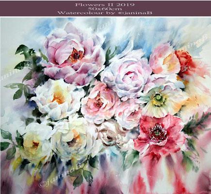 Flowers-II-2019 (T1) / 60x50cm  Watercolour by ©janinaB.