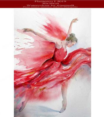 Flamenco I 2019 (4) / 30x40cm Watercolour by ©janinaB