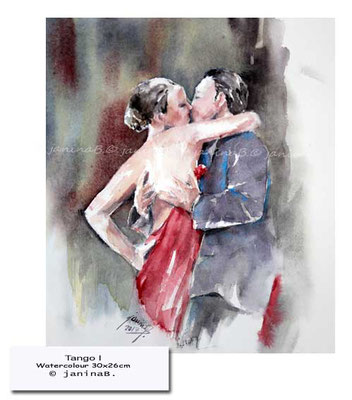 Tango I / Watercolour 30x26cm on Arches CP  © janinaB. 2017 / 150 Euro